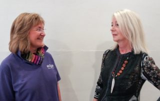 Bev and Judith's photograph to promote the radio interview about how they collaborate.
