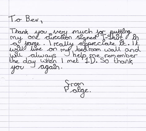 Thank you letter from Paige to Bev.