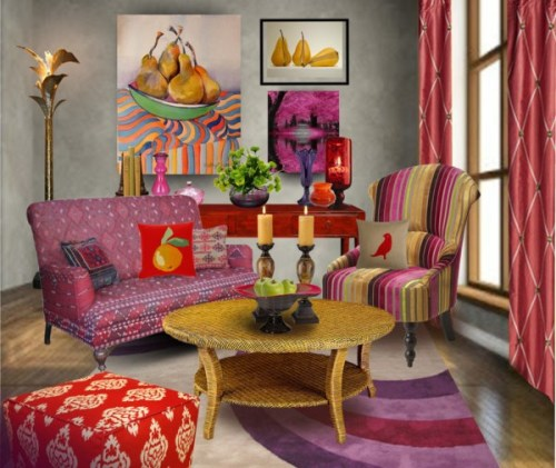 Room designed around the artwork, creating a room of characterful room.